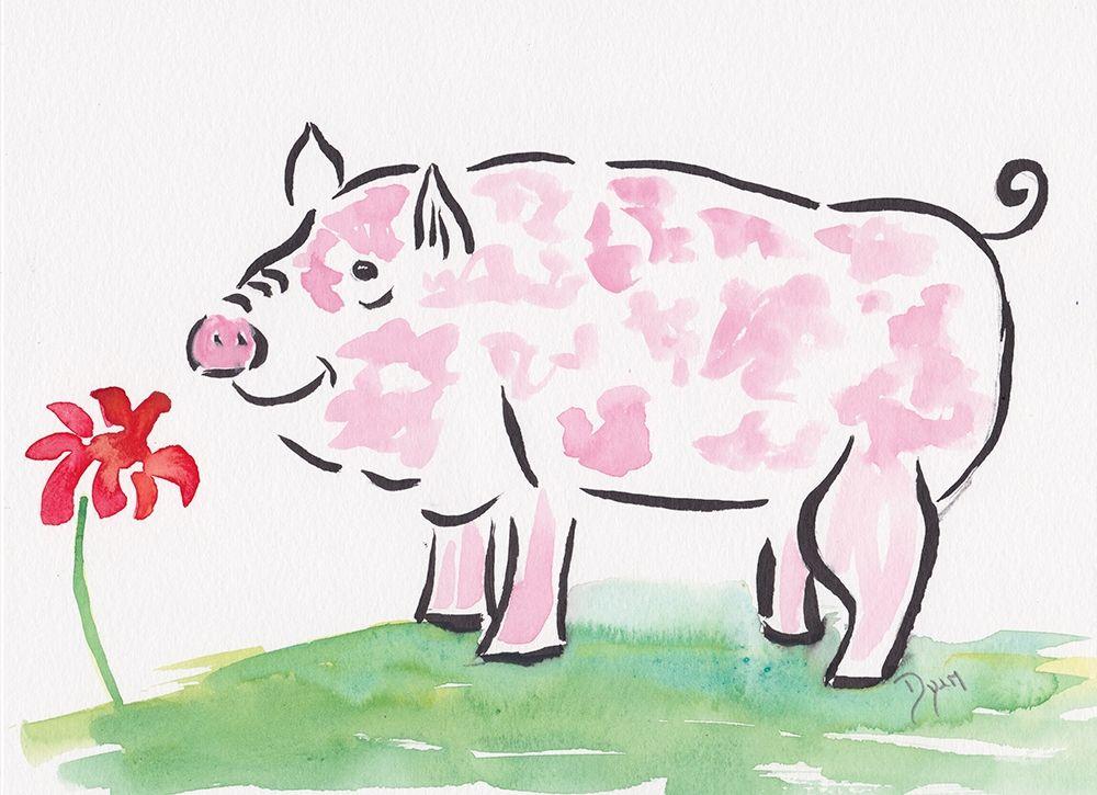 konfigurieren des Kunstdrucks in Wunschgröße Farmhouse Pig von Dyer, Beverly