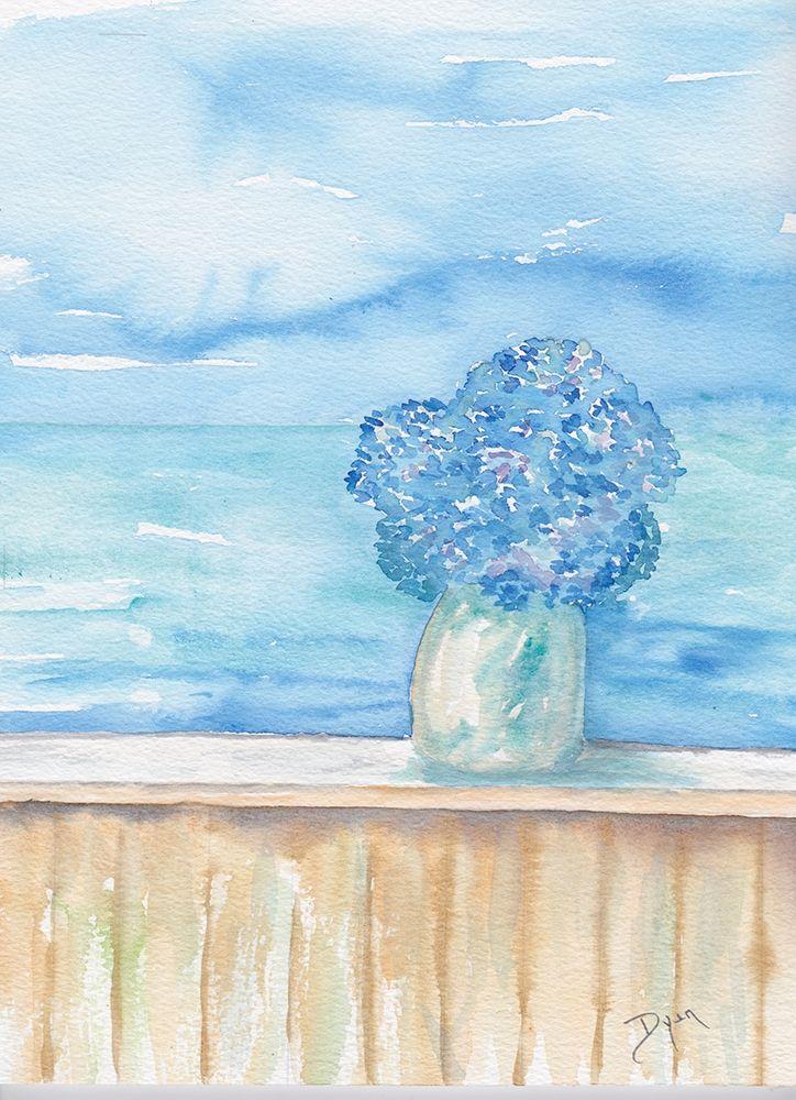 konfigurieren des Kunstdrucks in Wunschgröße Coastal Hydrangea Ocean View von Dyer, Beverly