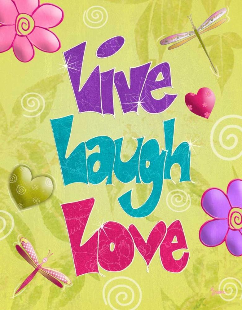 konfigurieren des Kunstdrucks in Wunschgröße Live Laugh Love von Stimson, Diane