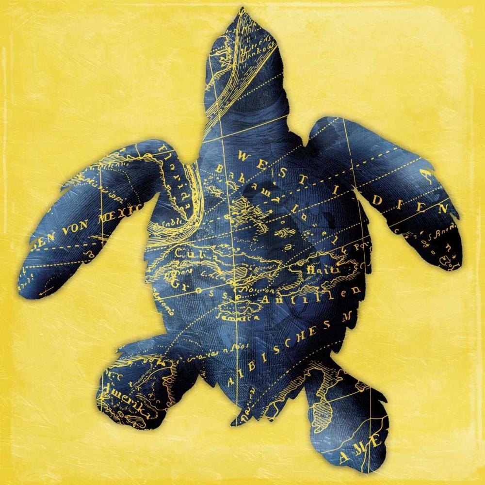 konfigurieren des Kunstdrucks in Wunschgröße Map Turtle Y Indigo von Grey, Jace