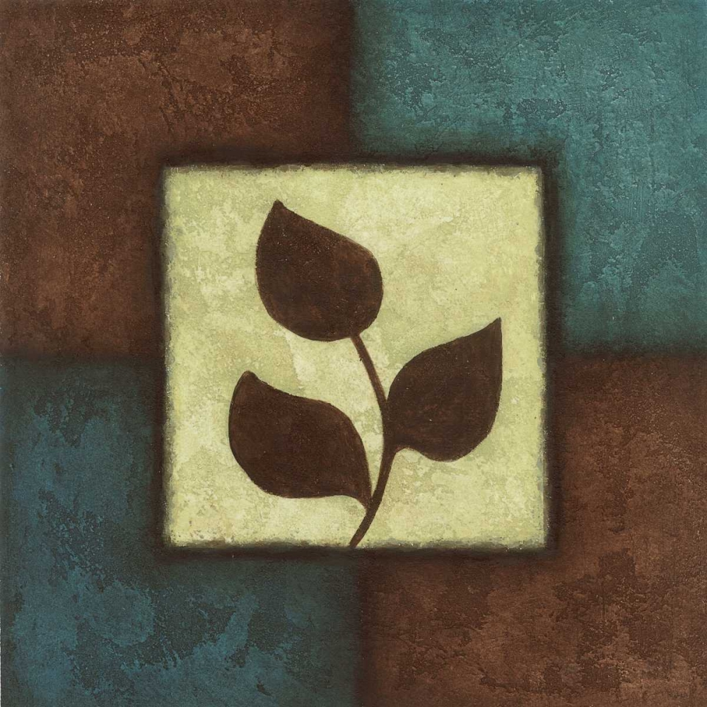 konfigurieren des Kunstdrucks in Wunschgröße Blue Brown Green Leaves I von Emery, Kristin