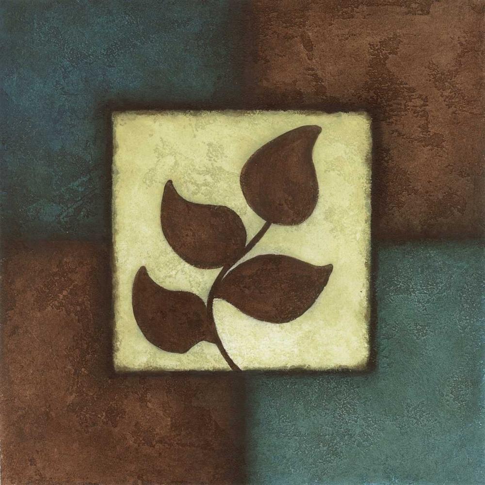 konfigurieren des Kunstdrucks in Wunschgröße Blue Brown Green Leaves II von Emery, Kristin