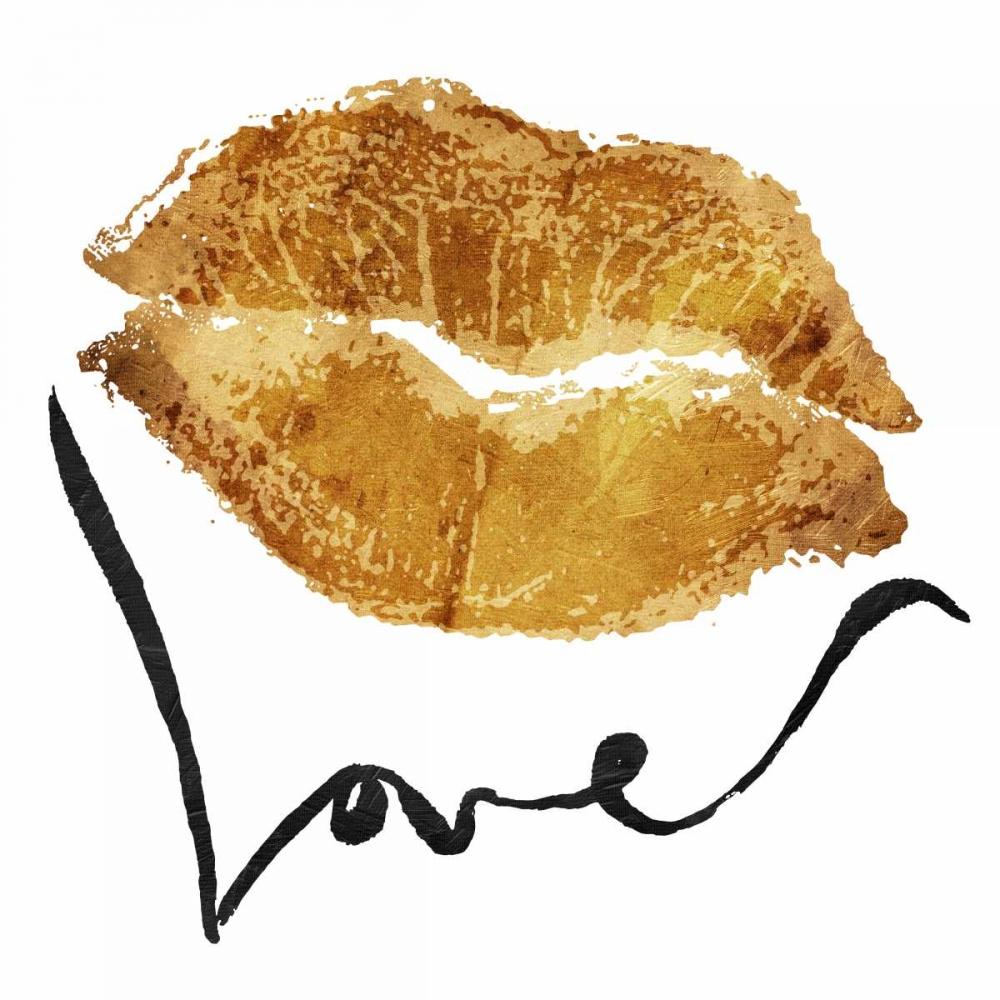 konfigurieren des Kunstdrucks in Wunschgröße Love Lips Gold von OnRei
