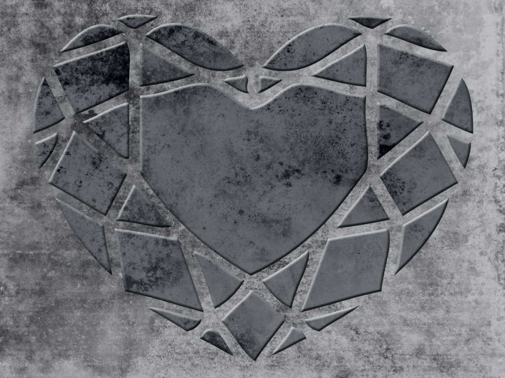 konfigurieren des Kunstdrucks in Wunschgröße Transitional Geo Heart von Lewis, Sheldon