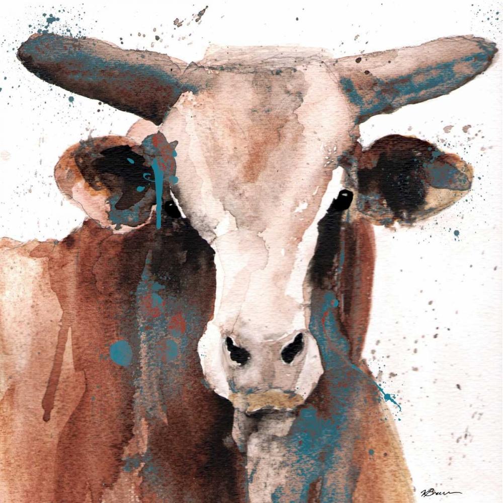 konfigurieren des Kunstdrucks in Wunschgröße Splashed Blue Bull von Brown, Victoria