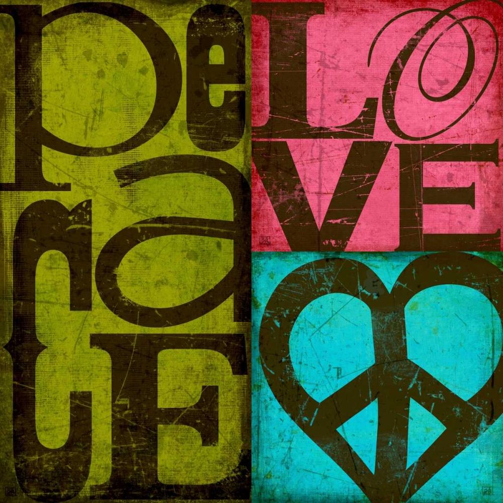 konfigurieren des Kunstdrucks in Wunschgröße Peace and Love von Einzelbilder