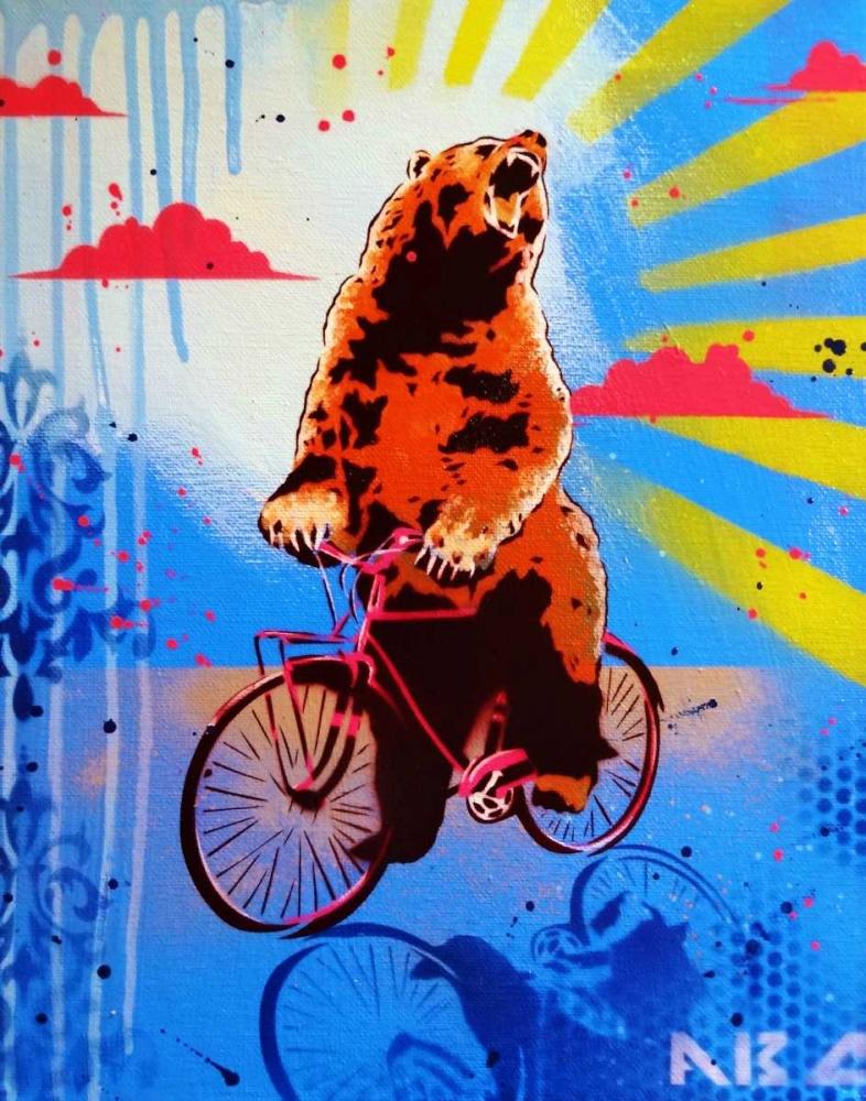 konfigurieren des Kunstdrucks in Wunschgröße Bear Back Rider von AbcArtAttack