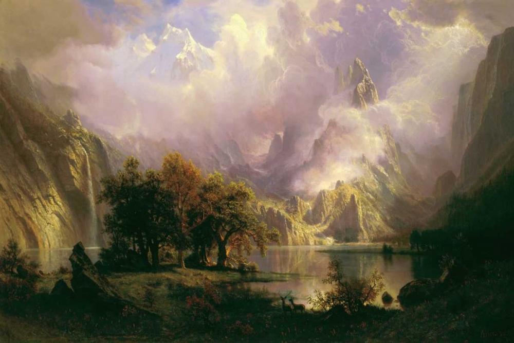 konfigurieren des Kunstdrucks in Wunschgröße Rocky Mountain Landscape von Bierstadt, Albert