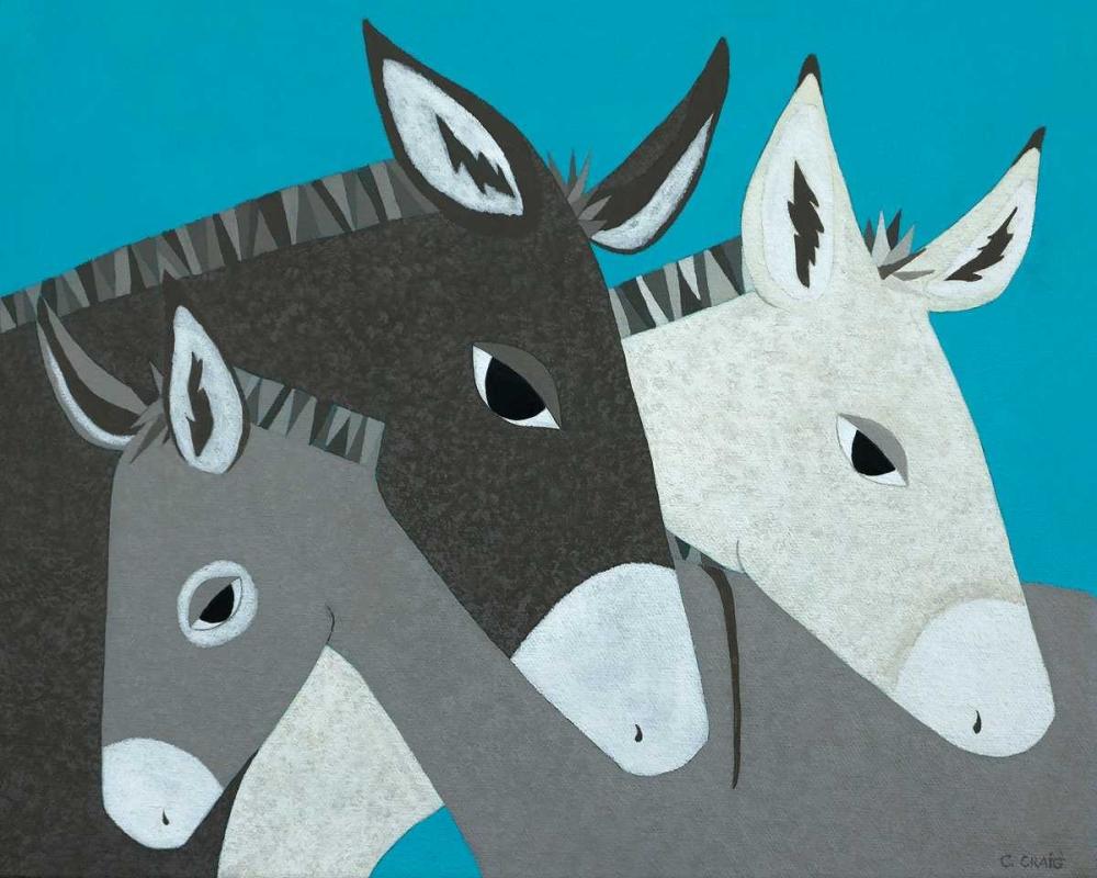 konfigurieren des Kunstdrucks in Wunschgröße Donkey Family von Craig, Casey