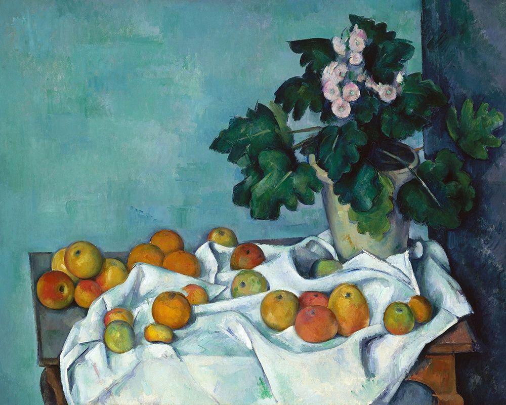 konfigurieren des Kunstdrucks in Wunschgröße Still Life with Apples and a Pot of Primroses von Cezanne, Paul