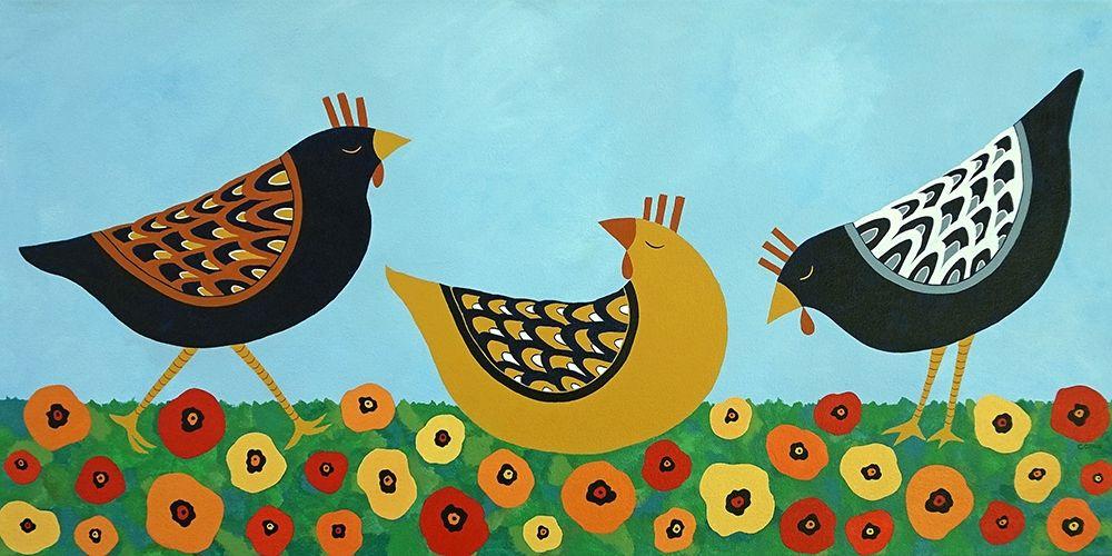 konfigurieren des Kunstdrucks in Wunschgröße Hens and Poppies von Craig, Casey