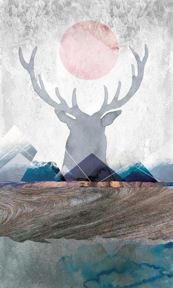 Contemporary,Urban/Pop Surrealism,Animals,Deer,Animals,Wildlife,Contemporary,Pop Culture,,D961D,Deer and Mountains 2,Duncan-He, Louis,Vertical