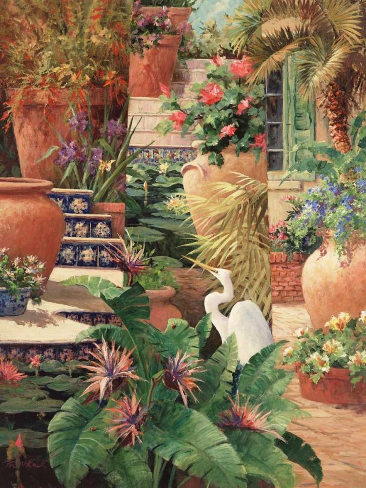 konfigurieren des Kunstdrucks in Wunschgröße Floral Fractal with Egret von Fronckowiak, Art