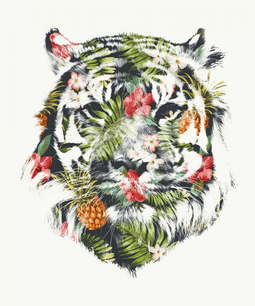 Urban/Pop Surrealism,Animals,Cats,Illustration,Tigers,Animals,Pop Culture,Illustrative,,,F464D,Tropical Tiger,Farkas, Robert,Vertical