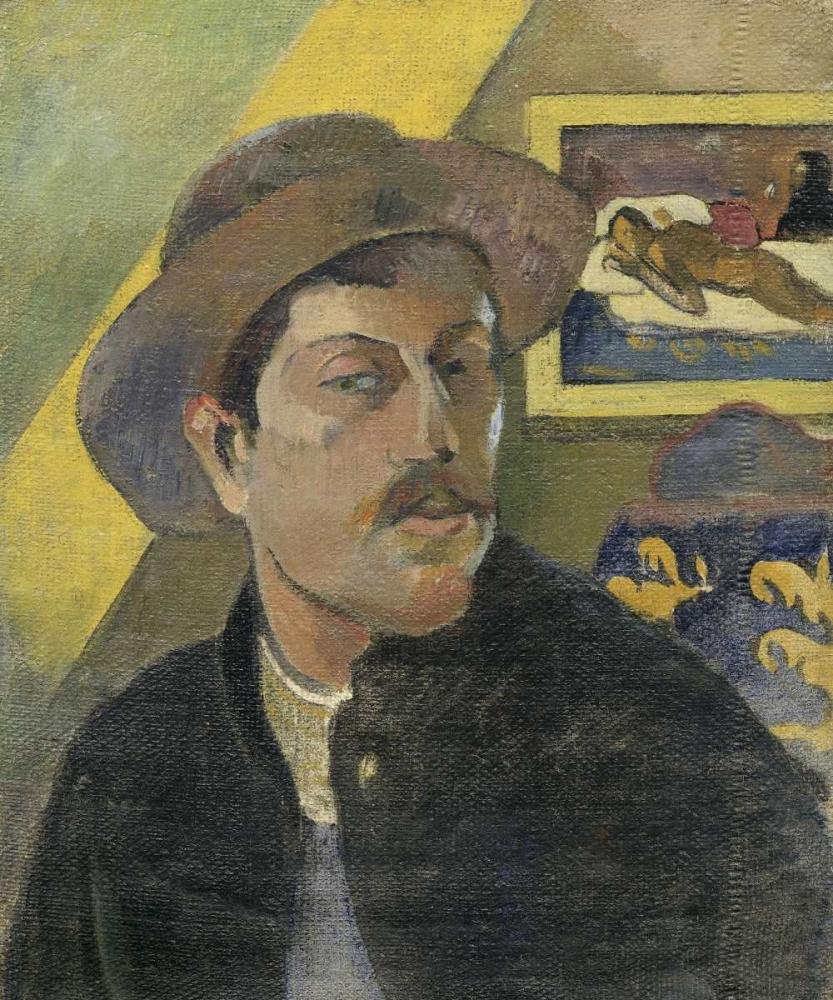konfigurieren des Kunstdrucks in Wunschgröße Self Portrait with a Hat von Gauguin, Paul