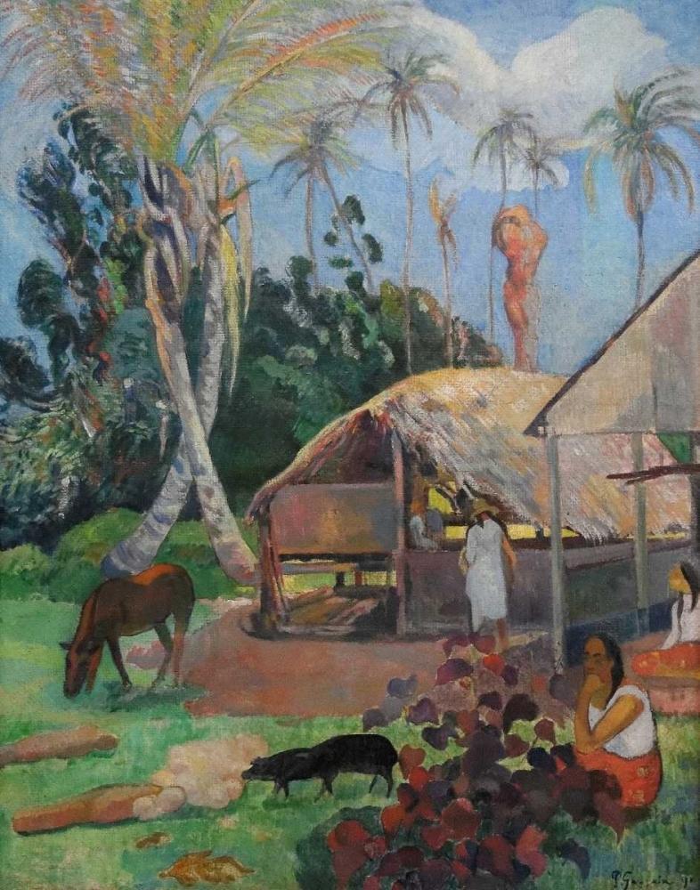 konfigurieren des Kunstdrucks in Wunschgröße The Black Pigs von Gauguin, Paul