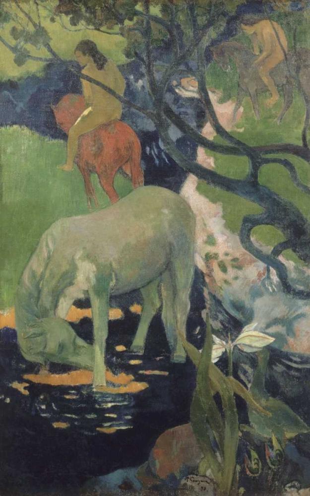 konfigurieren des Kunstdrucks in Wunschgröße The White Horse von Gauguin, Paul