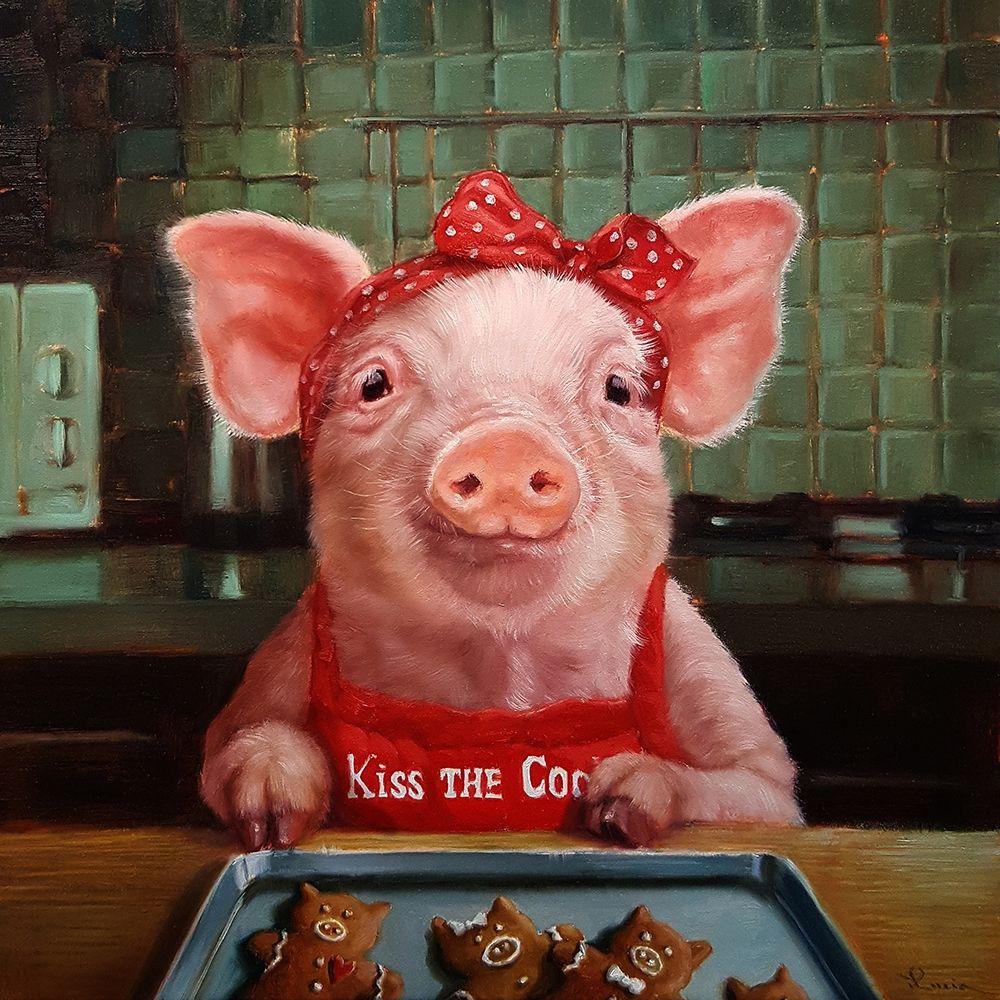 konfigurieren des Kunstdrucks in Wunschgröße Gingerbread Pigs von Heffernan, Lucia