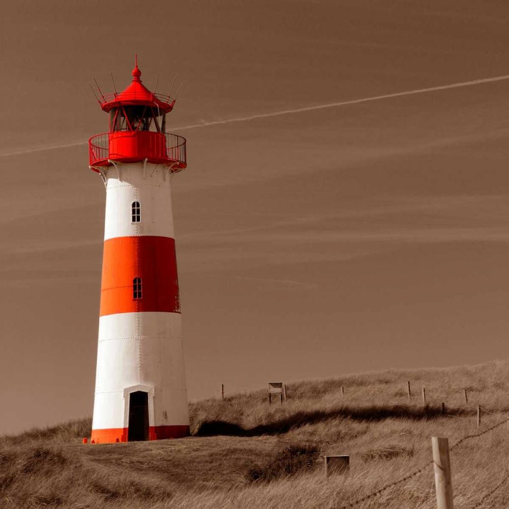 konfigurieren des Kunstdrucks in Wunschgröße Red and White Lighthouse von PhotoINC Studio