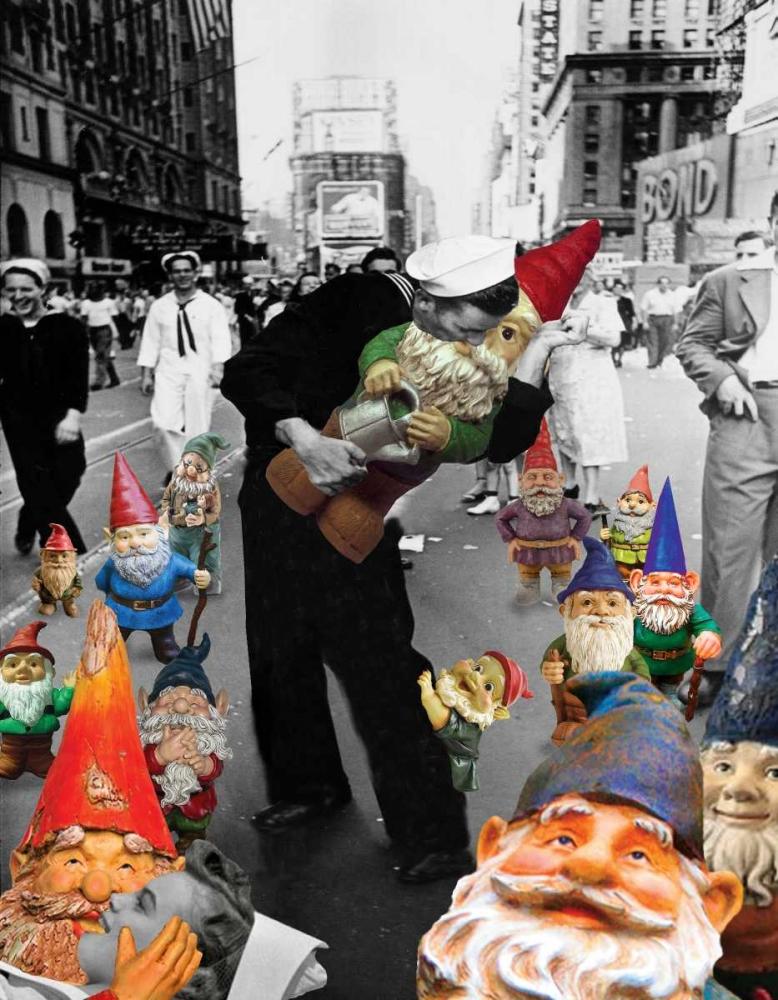 konfigurieren des Kunstdrucks in Wunschgröße Garden Gnomes - VJ Day von Kite, Barry