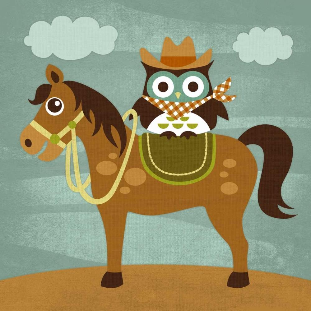 konfigurieren des Kunstdrucks in Wunschgröße Cowboy Owl on Horse von Lee, Nancy