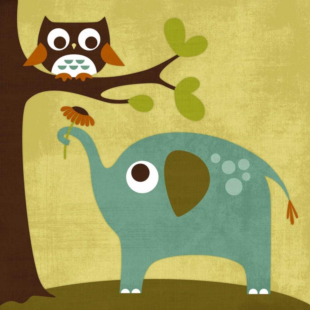 konfigurieren des Kunstdrucks in Wunschgröße Owl and Elephant von Lee, Nancy