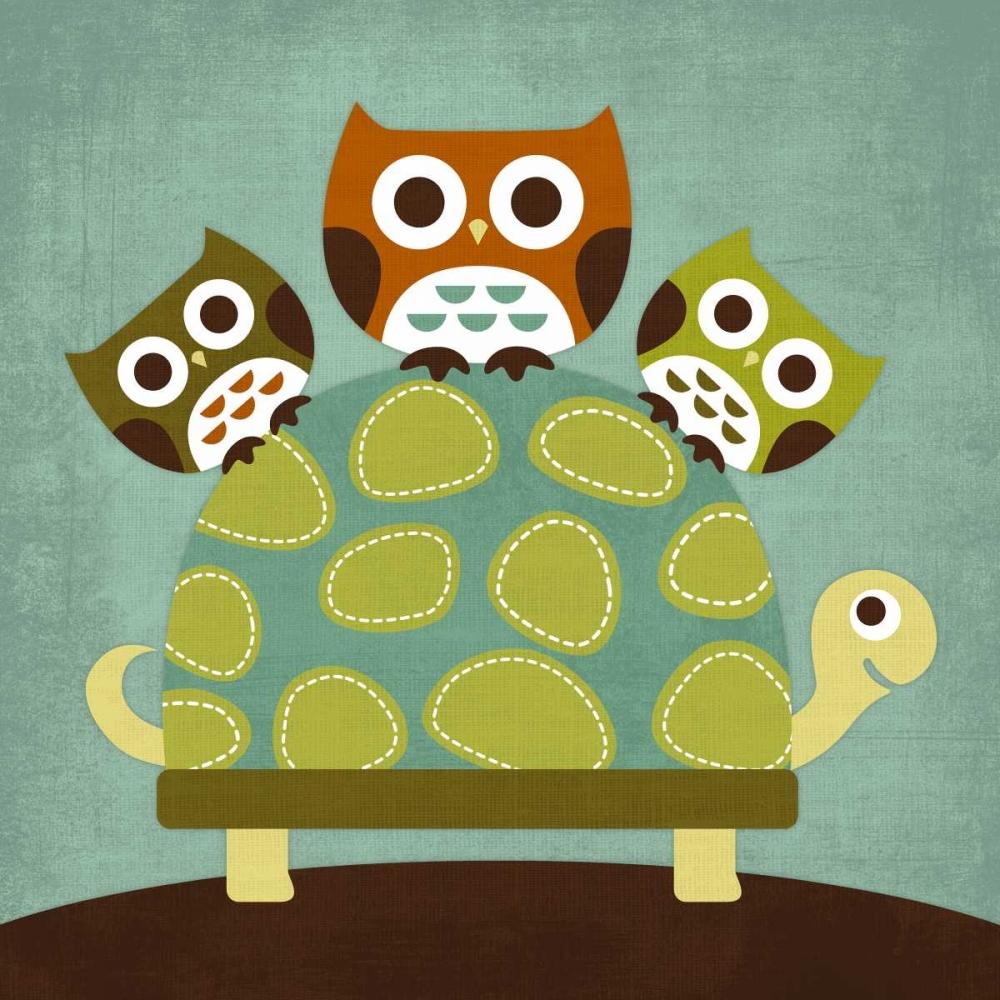 konfigurieren des Kunstdrucks in Wunschgröße Three Owls on Turtle von Lee, Nancy