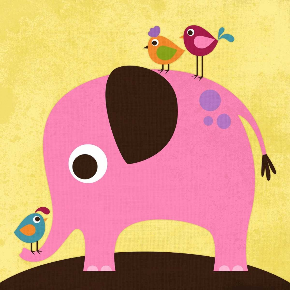 konfigurieren des Kunstdrucks in Wunschgröße Elephant with Birds von Lee, Nancy