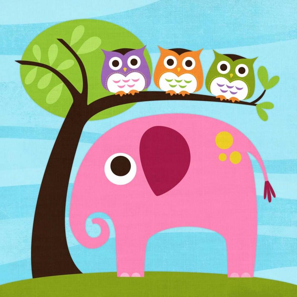 konfigurieren des Kunstdrucks in Wunschgröße Elephant with Three Owls von Lee, Nancy