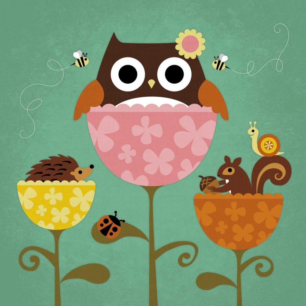 konfigurieren des Kunstdrucks in Wunschgröße Owl Squirrel and Hedgehog in Flowers von Lee, Nancy