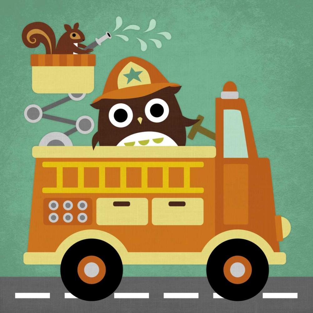 konfigurieren des Kunstdrucks in Wunschgröße Owl in Firetruck and Squirrel von Lee, Nancy