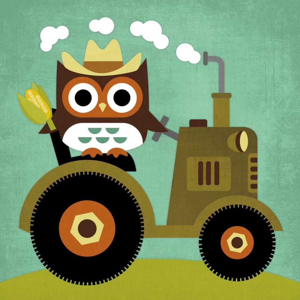 konfigurieren des Kunstdrucks in Wunschgröße Owl on Tractor von Lee, Nancy