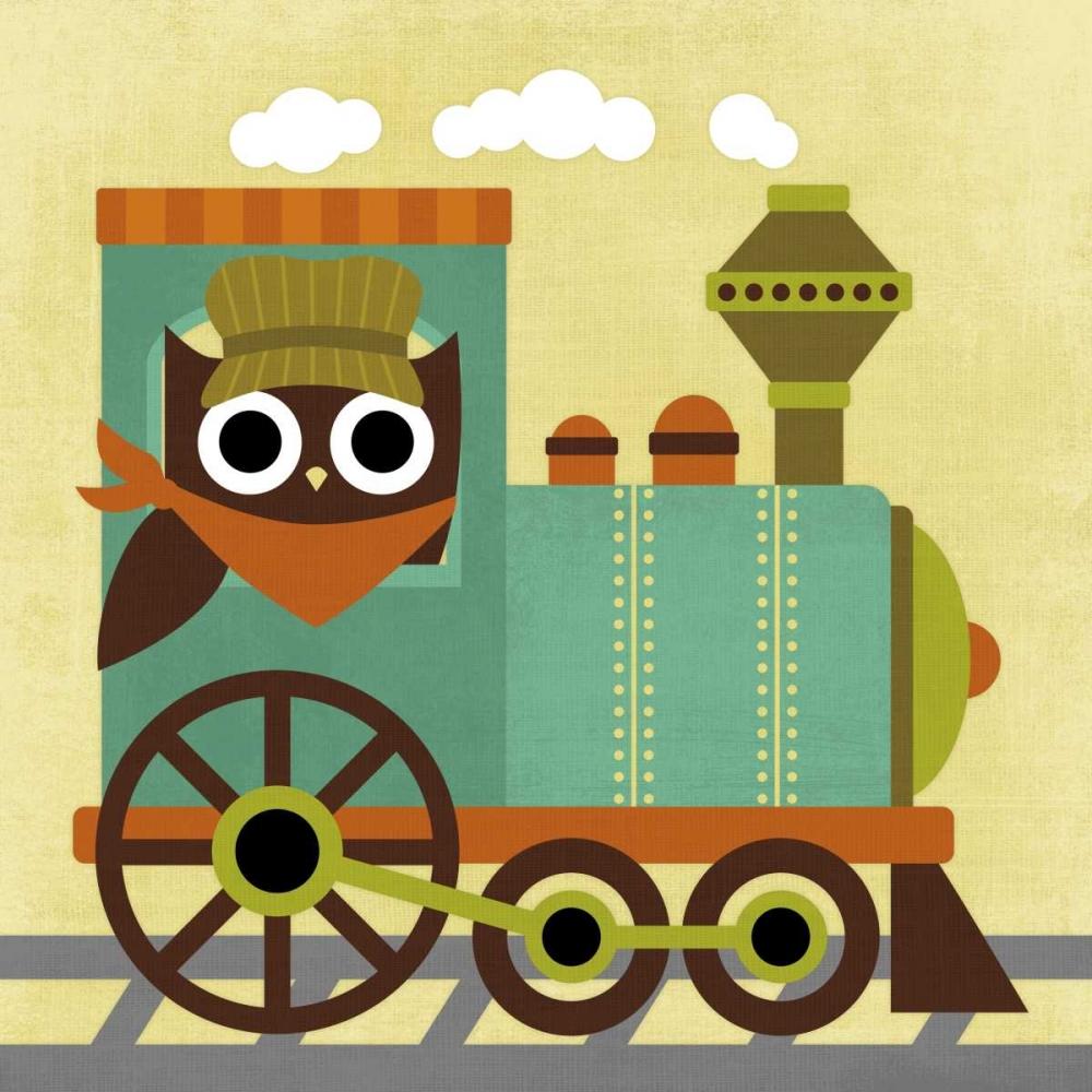 konfigurieren des Kunstdrucks in Wunschgröße Owl Train Conductor von Lee, Nancy