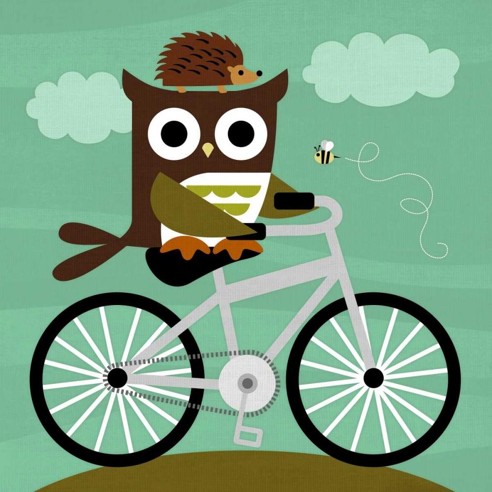 konfigurieren des Kunstdrucks in Wunschgröße Owl and Hedgehog on Bicycle von Lee, Nancy