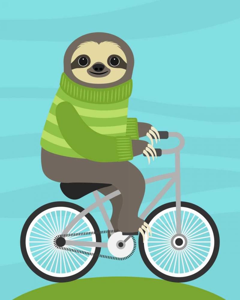 konfigurieren des Kunstdrucks in Wunschgröße Cycling Sloth von Lee, Nancy
