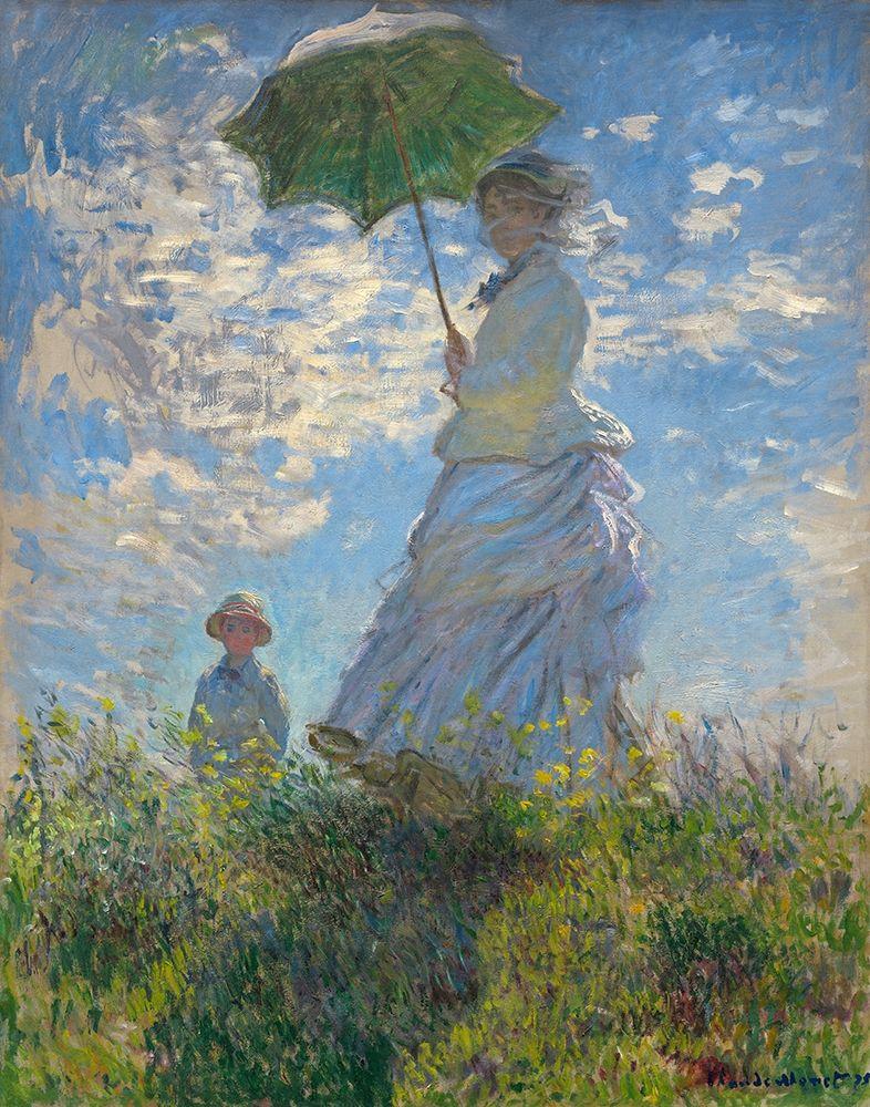 konfigurieren des Kunstdrucks in Wunschgröße Woman with a Parasol - Madame Monet and Her Son, 1875 von Monet, Claude
