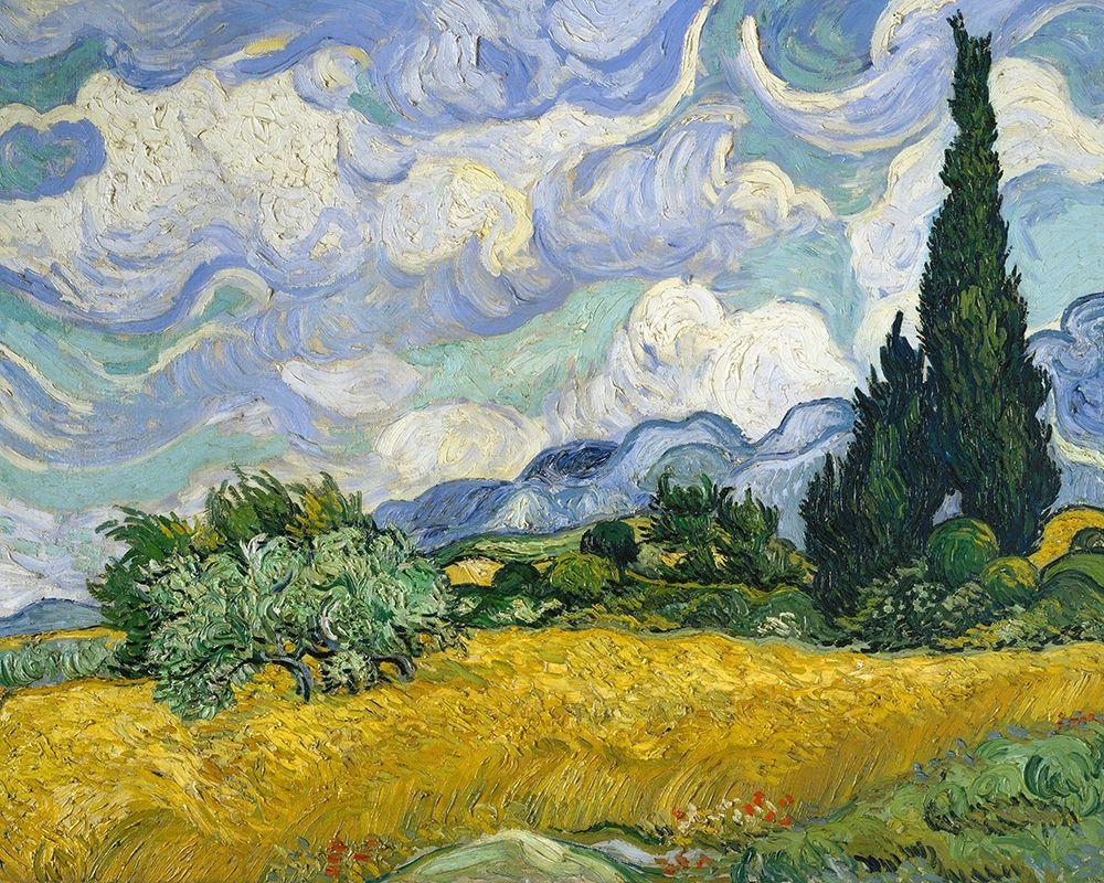 konfigurieren des Kunstdrucks in Wunschgröße Wheat Field with Cypresses von Van Gogh, Vincent