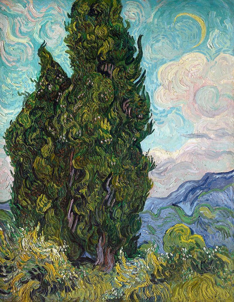 konfigurieren des Kunstdrucks in Wunschgröße Cypresses, 1889 von Van Gogh, Vincent