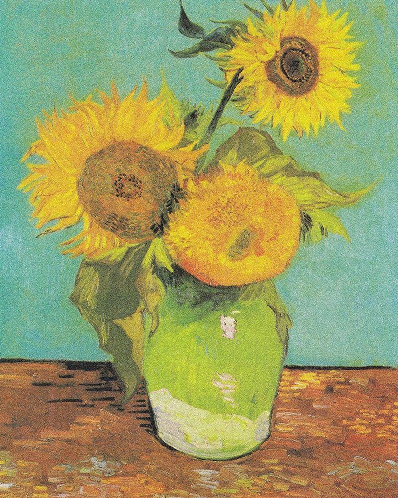 konfigurieren des Kunstdrucks in Wunschgröße Three Sunflowers in a Vase, 1888 von Van Gogh, Vincent