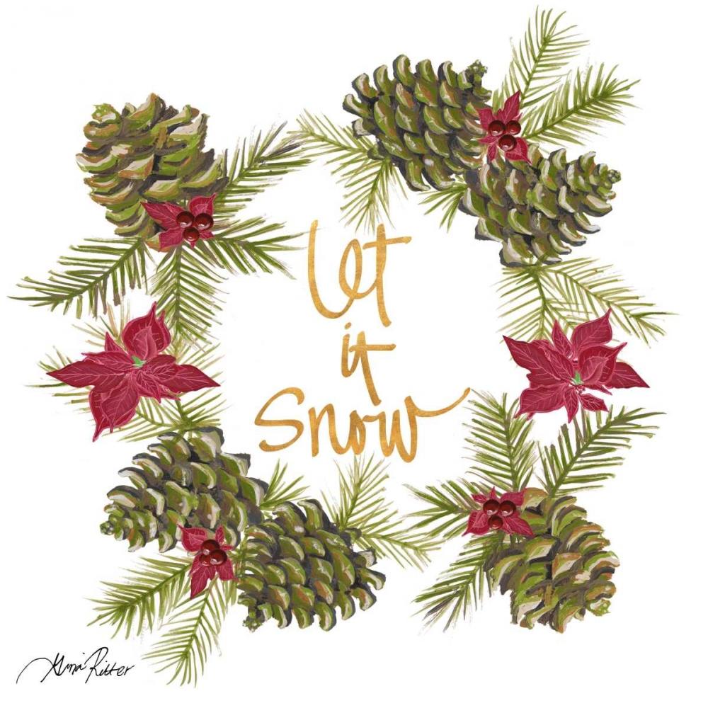 konfigurieren des Kunstdrucks in Wunschgröße Pine Cone Christmas Wreath II von Ritter, Gina