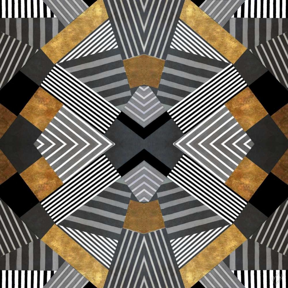 konfigurieren des Kunstdrucks in Wunschgröße Geo Stripes in Gold and Black I von Loreth, Lanie