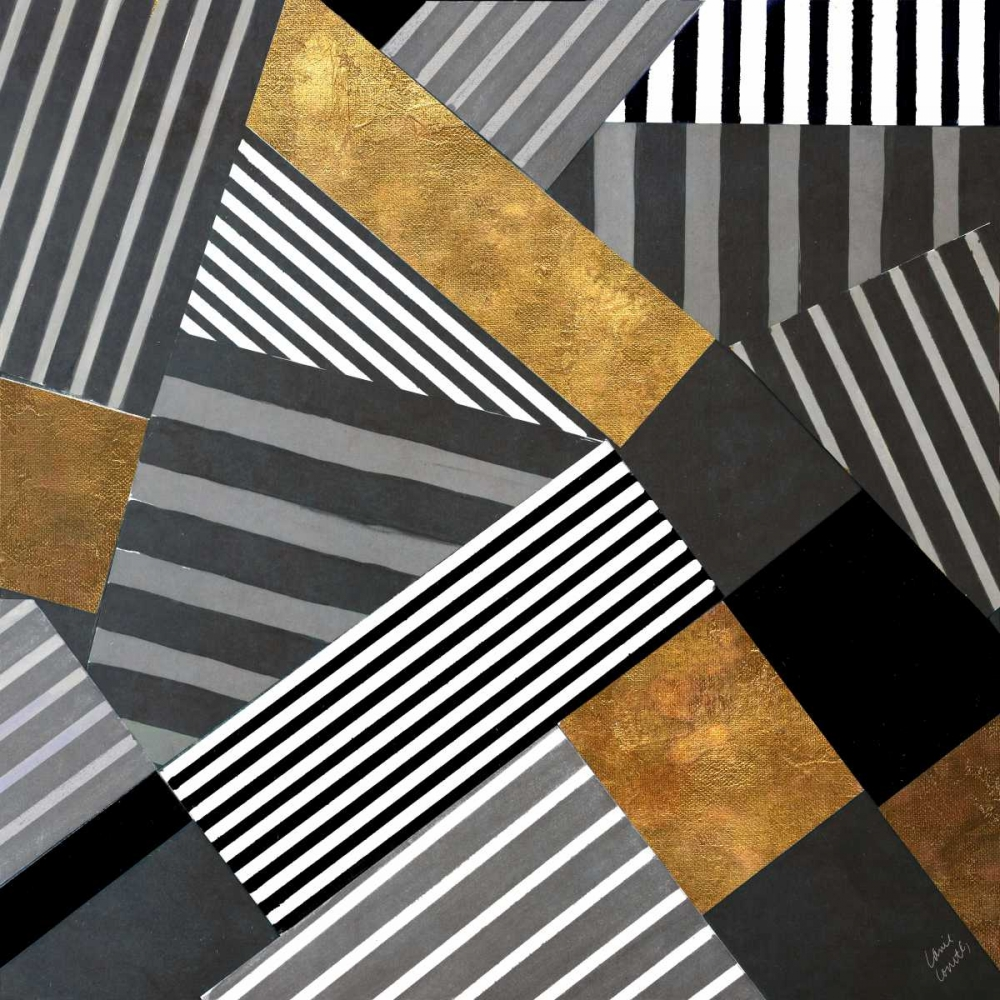 konfigurieren des Kunstdrucks in Wunschgröße Geo Stripes in Gold and Black II von Loreth, Lanie