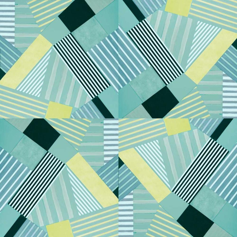 konfigurieren des Kunstdrucks in Wunschgröße Geo Stripes in Pale Teal von Loreth, Lanie