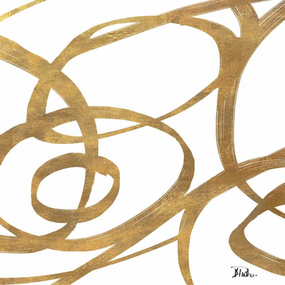 konfigurieren des Kunstdrucks in Wunschgröße Golden Swirls Square Border I von Pinto, Patricia