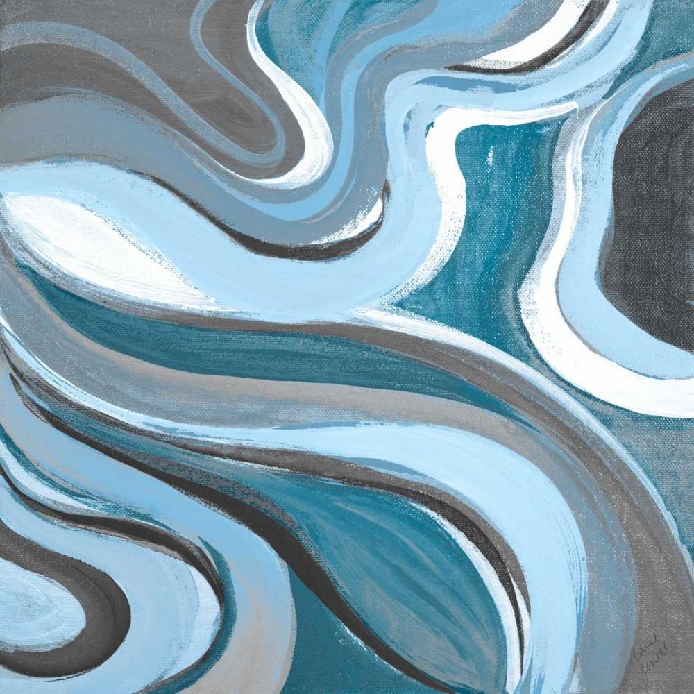 konfigurieren des Kunstdrucks in Wunschgröße Curvilinear Bright Blue II von Loreth, Lanie