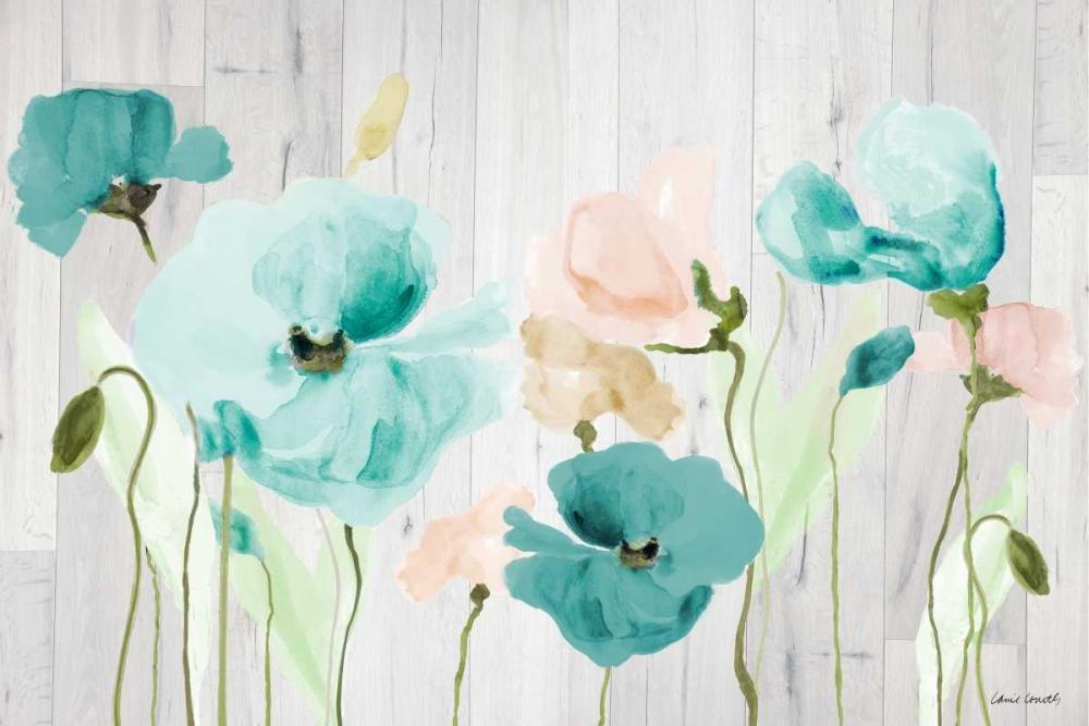 konfigurieren des Kunstdrucks in Wunschgröße Teal Poppies on Wood von Loreth, Lanie