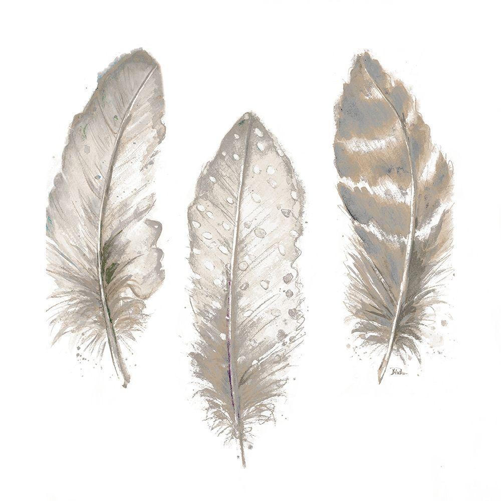 konfigurieren des Kunstdrucks in Wunschgröße Neutral Watercolor Feathers II von Pinto, Patricia