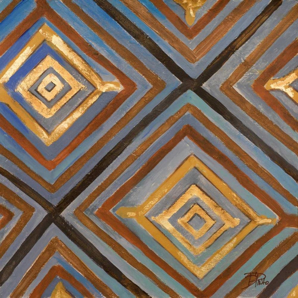 konfigurieren des Kunstdrucks in Wunschgröße Ikat and Pattern with Gold von Pinto, Patricia