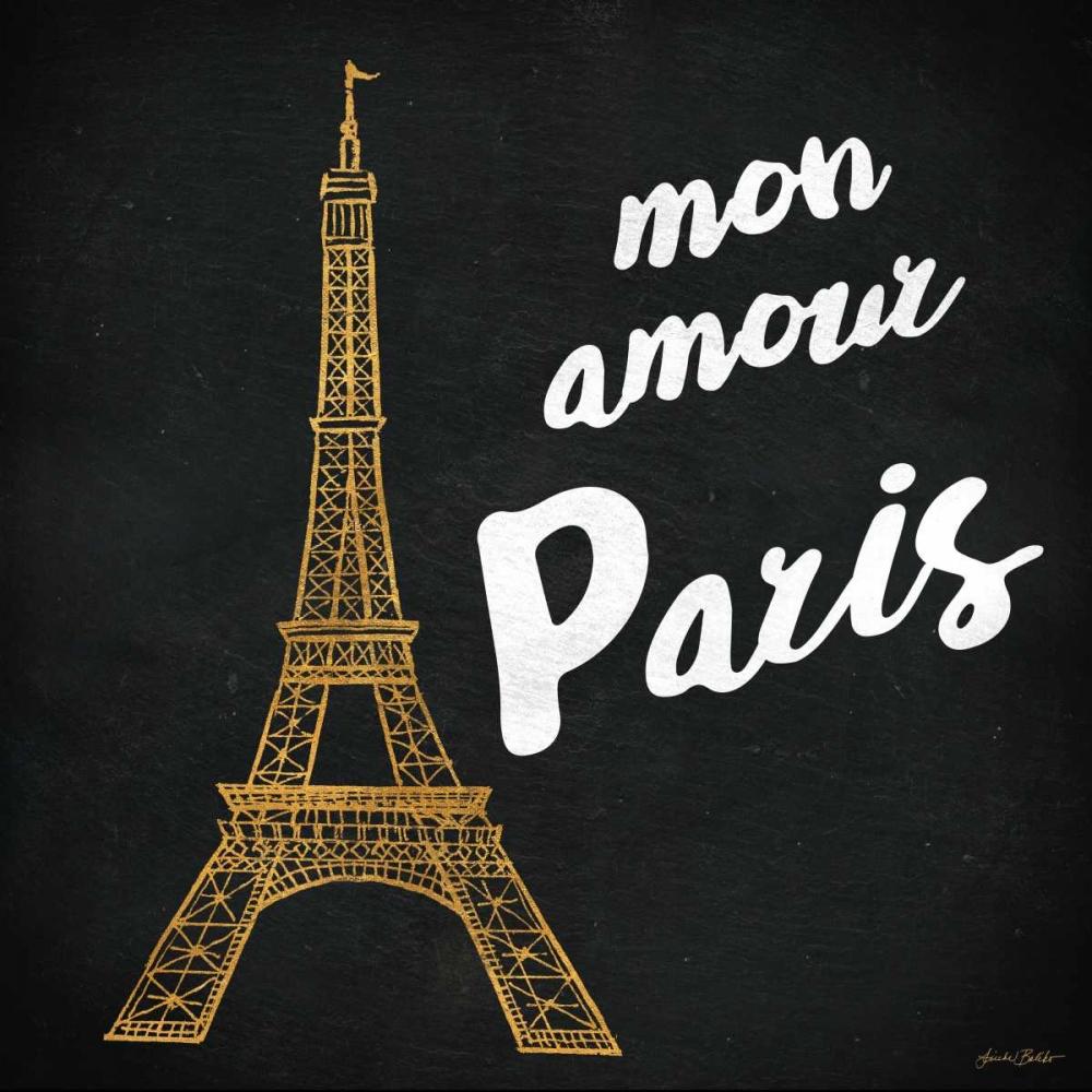 konfigurieren des Kunstdrucks in Wunschgröße Mon Paris Gold I von Baliko, Linda