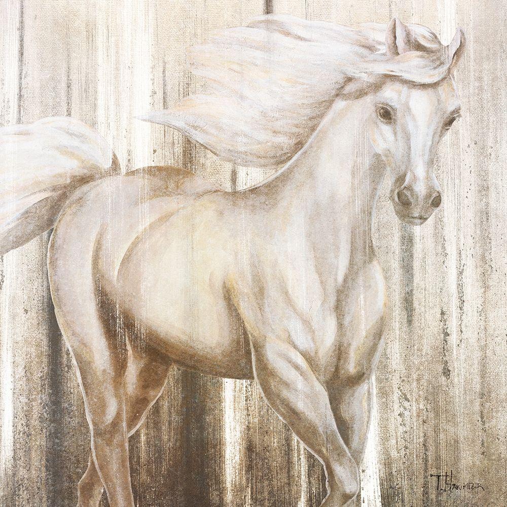 konfigurieren des Kunstdrucks in Wunschgröße Horse on Grass Abstract von Hakimipour, Tiffany